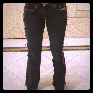 Diesel Dark Blue/Black frayed jeans